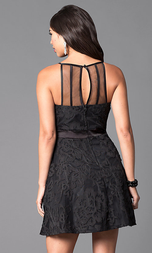 Image of little black homecoming dress with scoop neckline. Style: DMO-J312766 Back Image