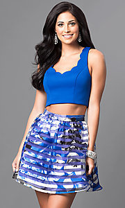 Image of royal blue two-piece short print homecoming dress. Style: DMO-J314346 Front Image