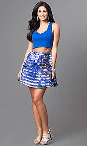 Image of royal blue two-piece short print homecoming dress. Style: DMO-J314346 Detail Image 1