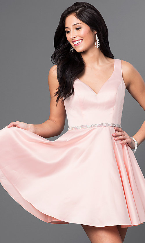Image of short circle skirt v-neck homecoming party dress. Style: DQ-9504 Detail Image 4