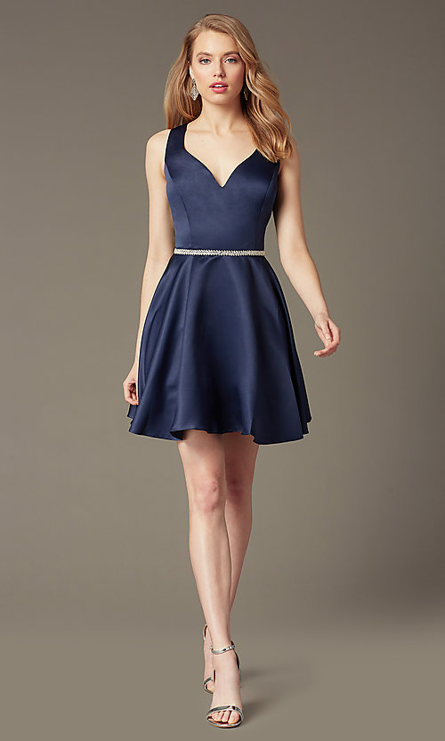 Image of short circle skirt v-neck homecoming party dress. Style: DQ-9504 Detail Image 3