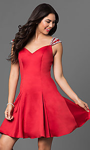 Image of jeweled cap sleeved short princess-cut dress. Style: DQ-9476 Detail Image 2