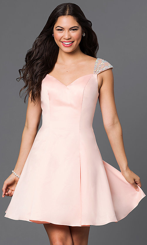 Image of jeweled cap sleeved short princess-cut dress. Style: DQ-9476 Detail Image 1