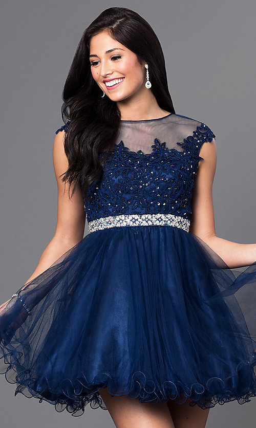Image of short a-line tulle illusion-square-neck party dress. Style: DQ-9489 Detail Image 2