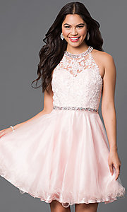 Image of lace-bodice sweetheart homecoming dress with jewels. Style: DQ-9534 Front Image