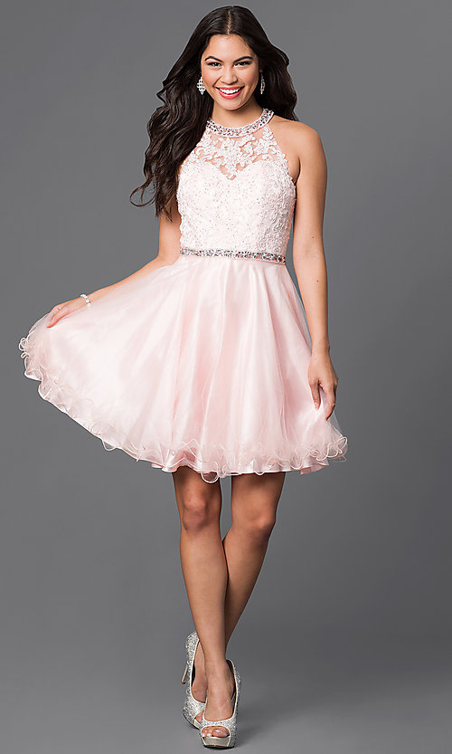 Image of lace-bodice sweetheart homecoming dress with jewels. Style: DQ-9534 Detail Image 1