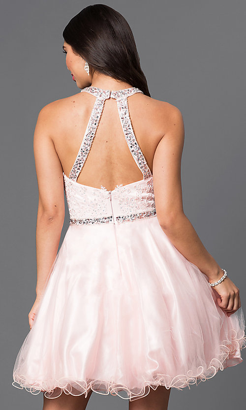 Image of lace-bodice sweetheart homecoming dress with jewels. Style: DQ-9534 Back Image