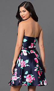 Image of strapless short floral-print navy homecoming dress. Style: DQ-9522 Back Image