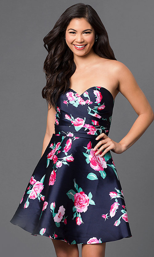 Image of strapless short floral-print navy homecoming dress. Style: DQ-9522 Front Image