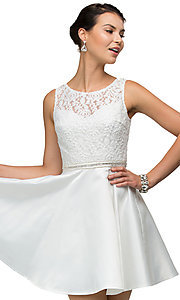 Image of short lace-bodice satin homecoming dress with beads. Style: DQ-9503 Detail Image 5