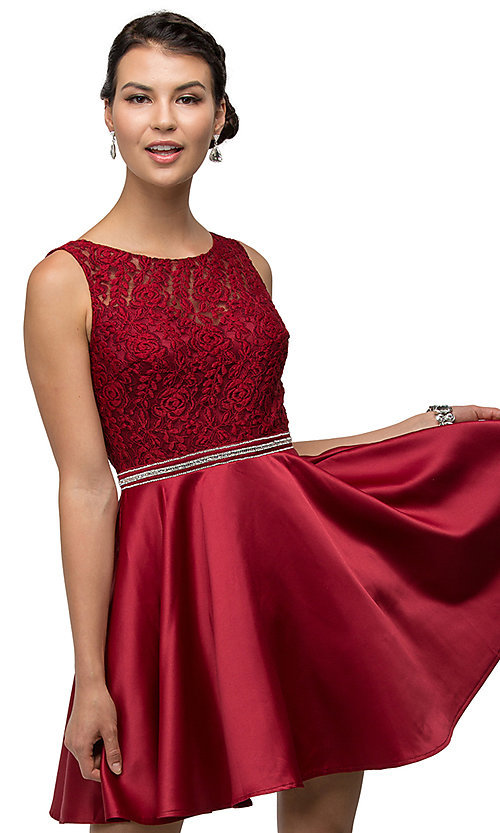 Image of short lace-bodice satin homecoming dress with beads. Style: DQ-9503 Detail Image 4