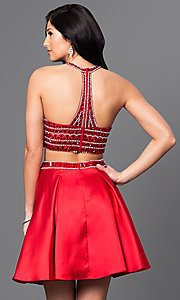 Image of short two-piece jeweled-bodice homecoming dress. Style: DQ-9475 Back Image