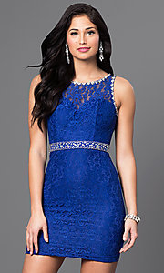 Image of sleeveless short lace mini homecoming party dress. Style: DQ-9506 Front Image