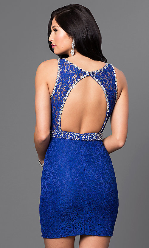 Image of sleeveless short lace mini homecoming party dress. Style: DQ-9506 Back Image