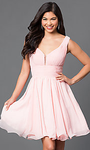 Image of short chiffon homecoming dress with ruched bodice. Style: DQ-9496 Front Image