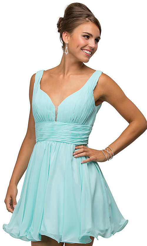 Image of short chiffon homecoming dress with ruched bodice. Style: DQ-9496 Detail Image 2