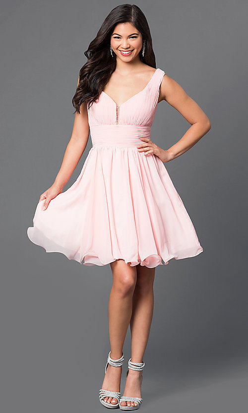 Image of short chiffon homecoming dress with ruched bodice. Style: DQ-9496 Detail Image 1