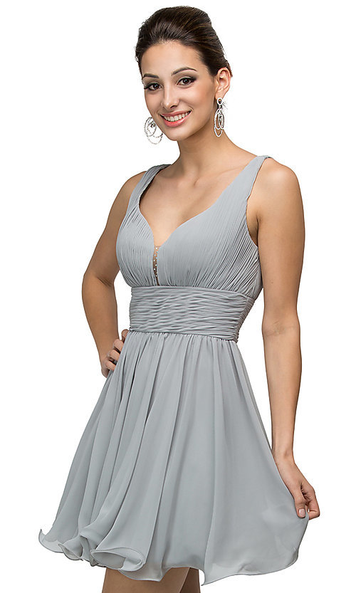Image of short chiffon homecoming dress with ruched bodice. Style: DQ-9496 Detail Image 3