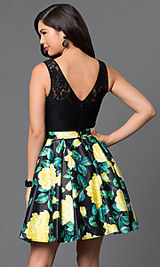 Image of short lace-bodice party dress with floral-print skirt. Style: DQ-9517 Back Image
