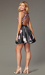 Image of short open-back floral-print homecoming dress Style: TI-GL-1625H2110 Detail Image 3