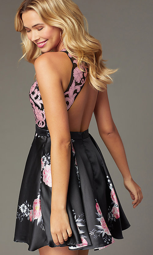 Image of short open-back floral-print homecoming dress Style: TI-GL-1625H2110 Detail Image 4
