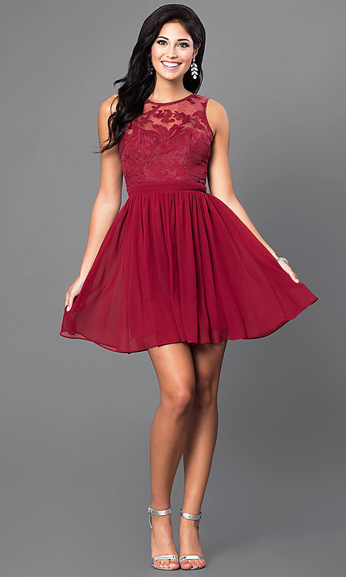 Image of lace-embellished sleeveless homecoming party dress. Style: LP-23801 Detail Image 4