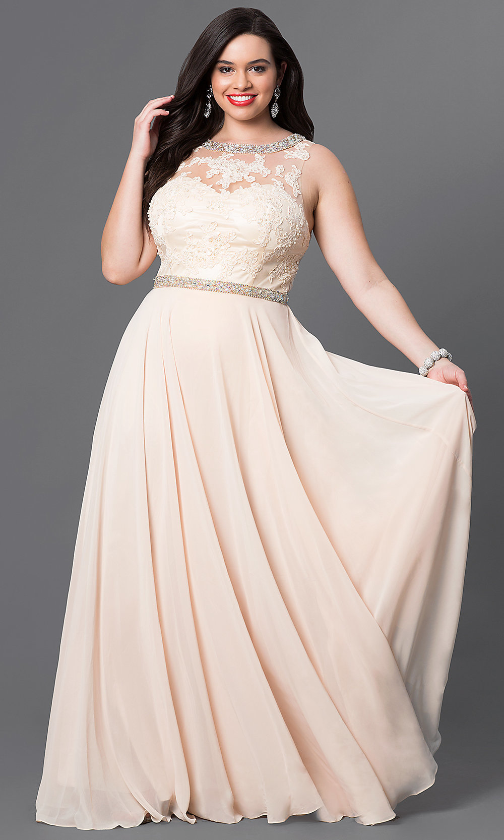 Champaign Plus-Size Formal Dress - PromGirl
