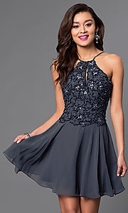 Image of beaded short open-back chiffon homecoming dress. Style: JO-JVN-JVN41683 Front Image