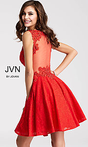 Image of JVN by Jovani short lace homecoming party dress. Style: JO-JVN-JVN45264 Detail Image 3