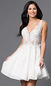 Image of JVN by Jovani short lace homecoming party dress. Style: JO-JVN-JVN45264 Front Image
