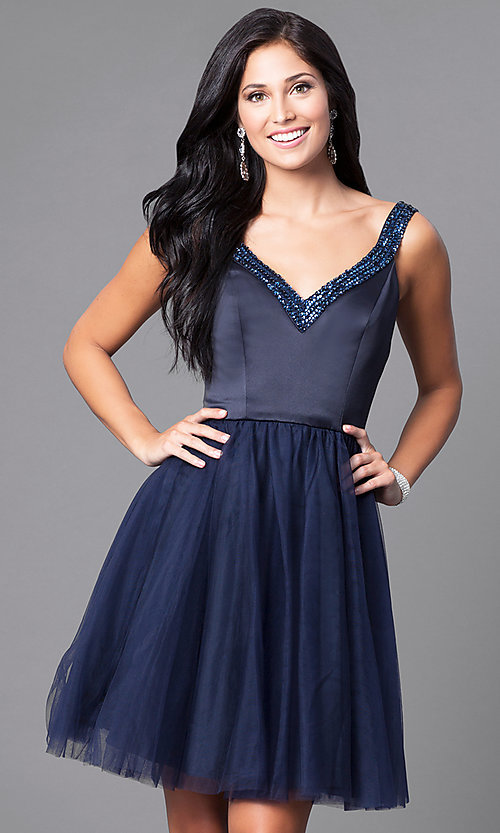 Short Navy Blue Party Dress with Sequined V-Neck