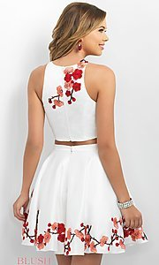 Image of two-piece homecoming dress from Intrigue by Blush. Style: BL-IN-217 Back Image