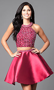 Image of two-piece a-line Intrigue by Blush homecoming dress. Style: BL-IN-227 Front Image
