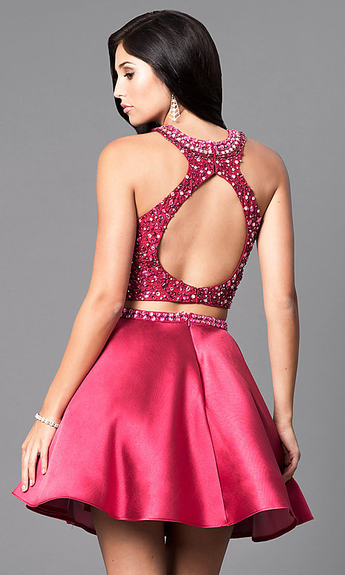 Image of two-piece a-line Intrigue by Blush homecoming dress. Style: BL-IN-227 Back Image