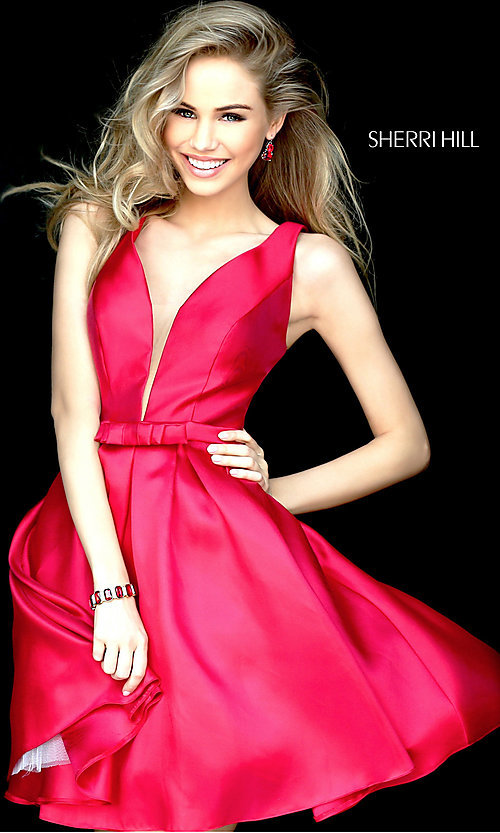 Image of Sherri Hill a-line illusion v-neck homecoming dress. Style: SH-S50506 Detail Image 1