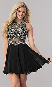 Image of mock two-piece short a-line homecoming dress. Style: DQ-9550 Front Image