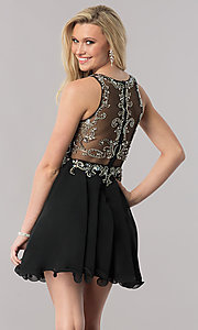 Image of mock two-piece short a-line homecoming dress. Style: DQ-9550 Back Image