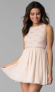 Image of short lace bodice sleeveless homecoming dress.  Style: SS-d65242hjl Front Image