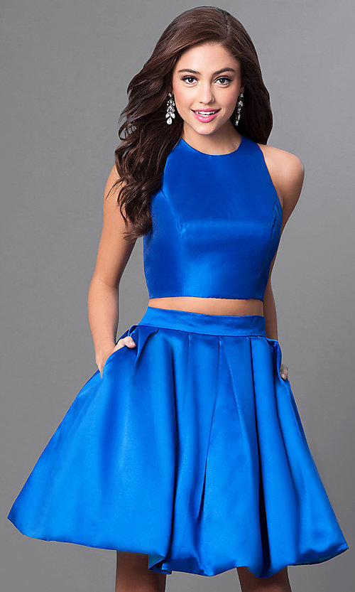 Image of two-piece homecoming dress with open back by Faviana. Style: FA-7858 Front Image