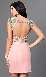 Image of open-back short embroidered-lace homecoming dress. Style: FB-GS1435 Back Image