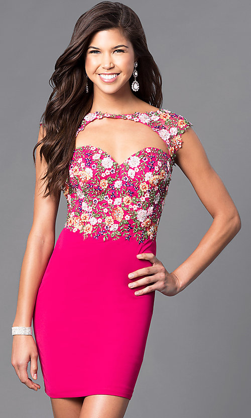 Image of open-back short embroidered-lace homecoming dress. Style: FB-GS1435 Front Image