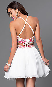 Image of short two-piece chiffon party dress with appliques. Style: FB-GS1438 Back Image