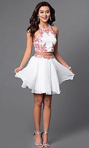 Image of short two-piece chiffon party dress with appliques. Style: FB-GS1438 Detail Image 1
