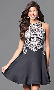 Image of high-neck a-line embellished short party dress. Style: FB-GS1442 Detail Image 2