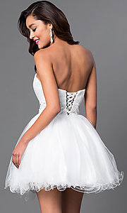 Image of strapless short babydoll party dress with corset. Style: FB-GS1053 Back Image