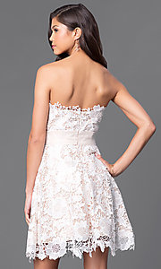 Image of strapless floral-lace ruched-waist short party dress. Style: FB-GS1450 Back Image