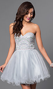 Image of beaded strapless sweetheart bandeau-back short dress. Style: FB-GS1458 Front Image