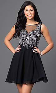 Image of short homecoming party dress with embellishments. Style: FB-GS1432 Front Image