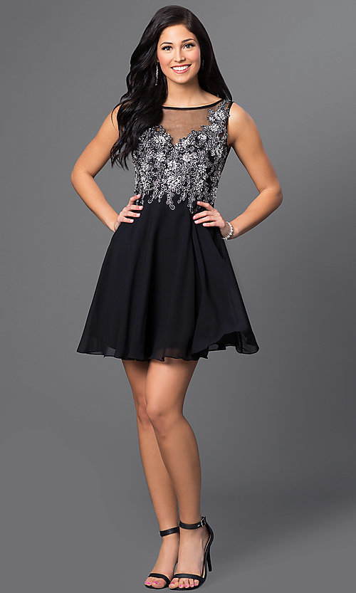 Image of short homecoming party dress with embellishments. Style: FB-GS1432 Detail Image 1