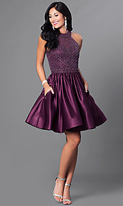 Image of eggplant purple homecoming dress with pockets. Style: CD-1526 Detail Image 1